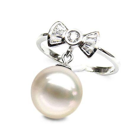 Anello fiocco oro bianco - Perla acqua dolce bianca - 9/10mm