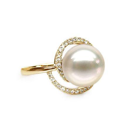 Anello spirale oro giallo - Perla acqua dolce bianca - 9/10mm