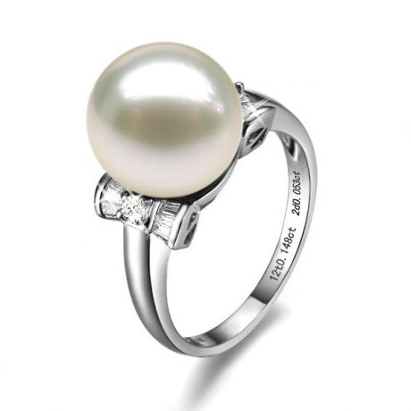 Anello diamantato oro bianco - Perla acqua dolce bianca - 10/11mm