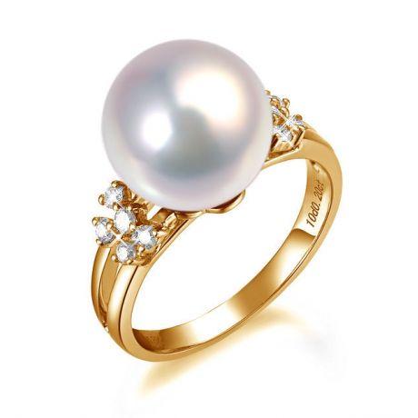 Anello motivo doppio - Oro giallo - Perla d'acqua dolce