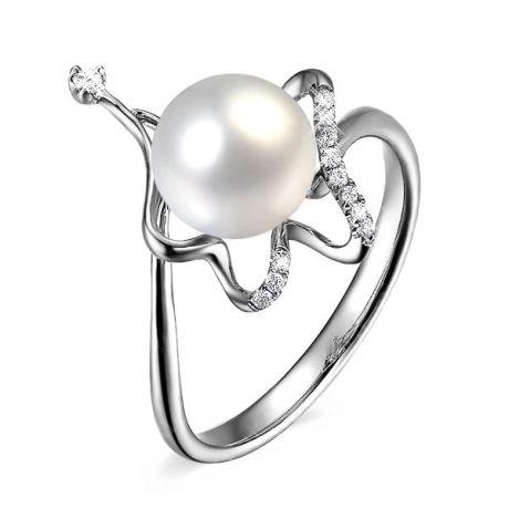 Anello donna - Perla coltivata d'acqua dolce bianca - Diamanti