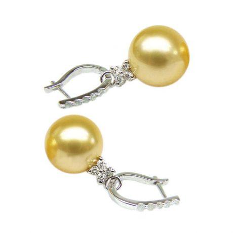 Orecchini perle d'Australia dorate. Monachella oro bianco - 12/13mm