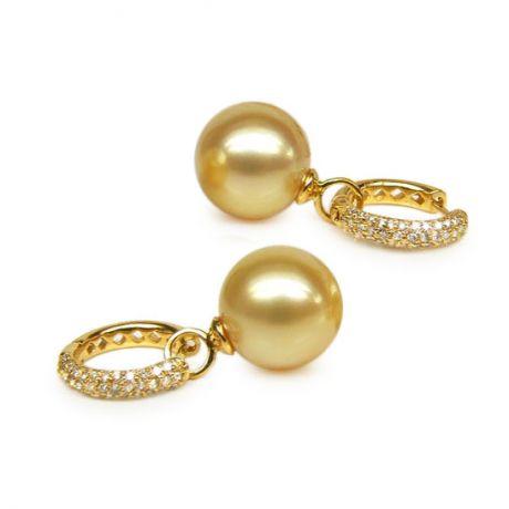 Orecchini perle d'Australia dorate. Monachella oro giallo - 12/13mm