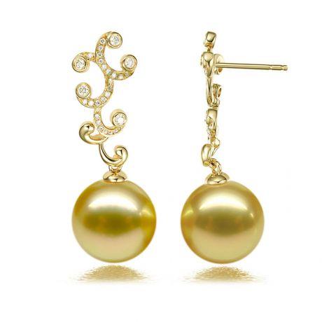 Pendenti natura in oro giallo - Perle d'Australia dorate