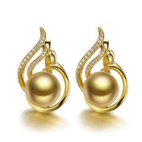 Orecchini di perle gold dei Mari del Sud. Monachella oro giallo