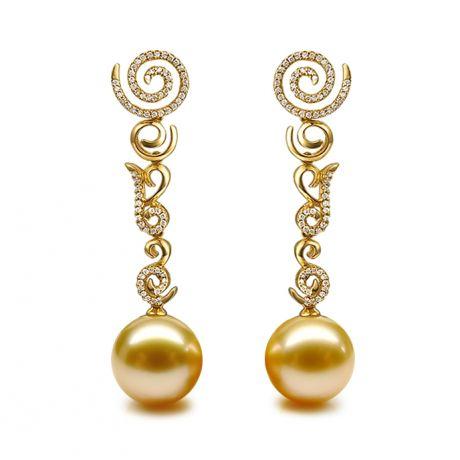 Orecchini di tipo pendente - Oro giallo e perla dei Mari del Sud