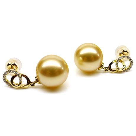 Orecchini con perle d'Australia dorate - Oro giallo - Excelsior