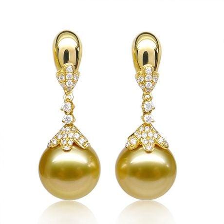 Orecchini perle d'Australia dorate, Pendenti oro giallo - 12/13mm
