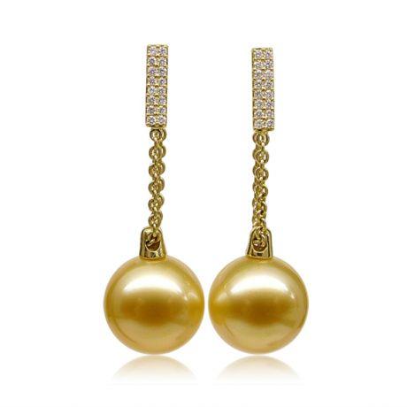 Orecchini pendenti in Oro Giallo e perla d'Australia dorata. Diamanti