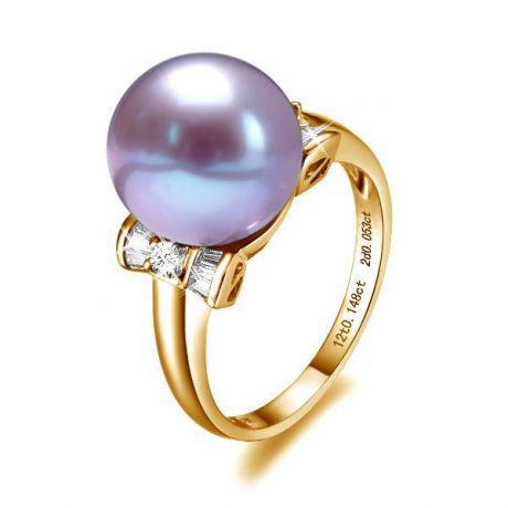 Anello diamantato oro giallo - Perla acqua dolce lavanda - 10/11mm