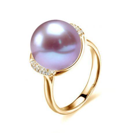 Anello oro giallo, diamanti - Perla acqua dolce lavanda - 10/11mm