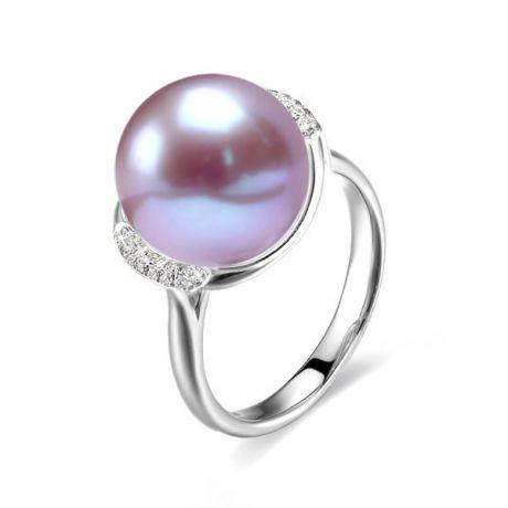Anello oro bianco, diamanti - Perla acqua dolce lavanda - 10/11mm
