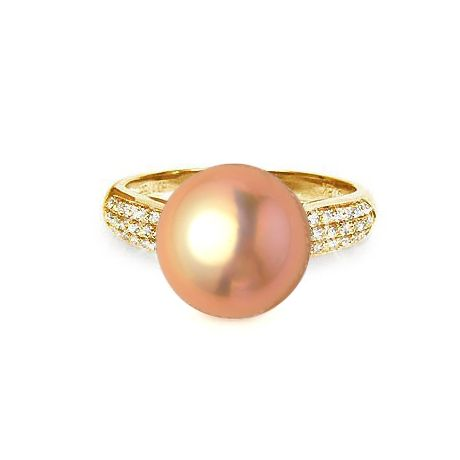 Anello classico oro giallo, diamanti - Perla acqua dolce rosa - 10/11mm