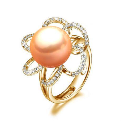Anello fiore oro giallo - Perla acqua dolce rosa - 10/11mm