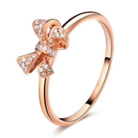 Anello Fiocchetto Di Diamanti. Oro rosa 18 carati e diamanti