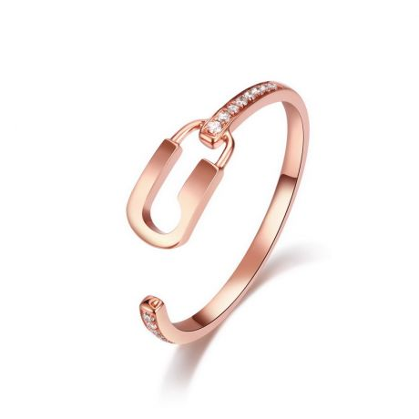Anello Lucchetto. Oro rosa 18t e diamanti