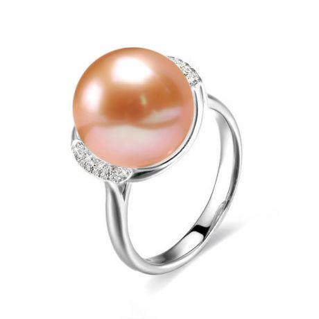 Anello oro bianco, diamanti - Perla acqua dolce rosa - 10/11mm