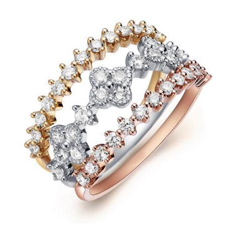 Anello Trio Danzante - 3 Ori e Diamanti