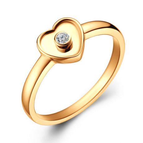 Anello cuore in oro bianco - Diamante centrale
