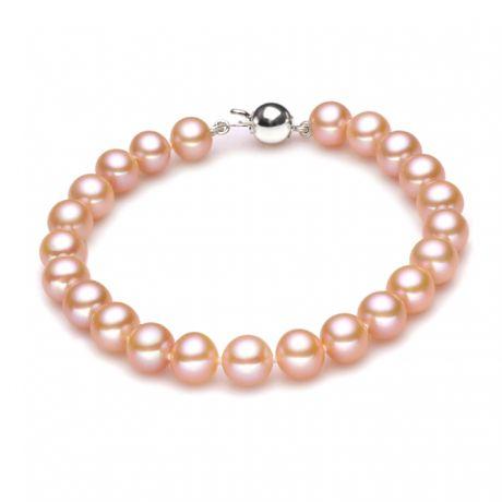 Braccialetto perle d'acqua dolce rosa - 7.5/8mm, AAA