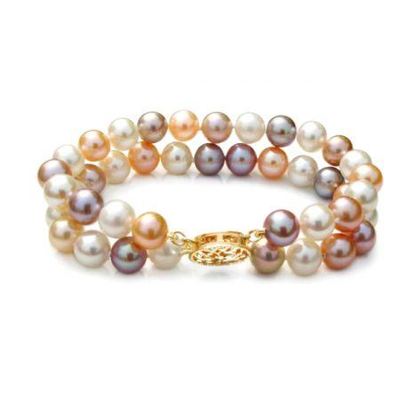 Braccialetto due fili perle d'acqua dolce multicolore - 6.5/7mm, AAA