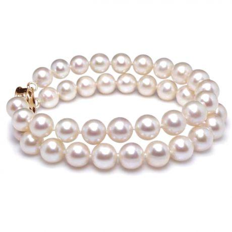 Braccialetto due fili perle acqua dolce bianche - 8/8.5mm, AAA