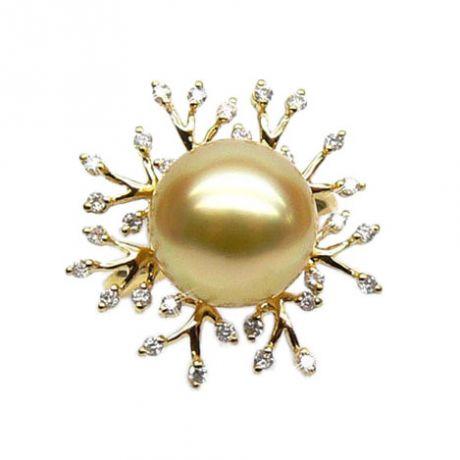 Anello rami oro giallo, diamanti - Perla d'Australia dorata - 11/12mm