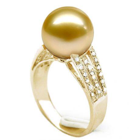 Anello oro giallo, diamanti - Perla d'Australia dorata, bronzo - 10/11mm