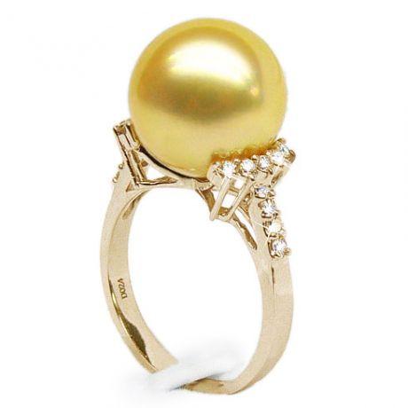 Anello oro giallo, diamanti - Perla d'Australia dorata - 12/13mm