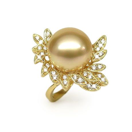 Anello foglie oro giallo - Perla d'Australia dorata - 12/13mm