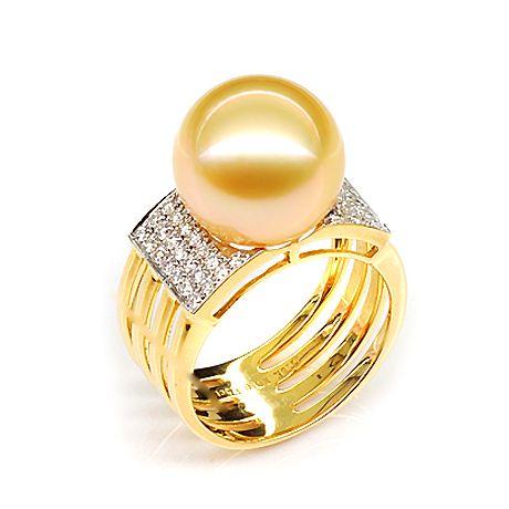 Anello isole Ashmore e Cartier - Oro giallo. Diamanti, perla d'Australia