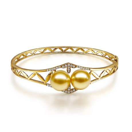 Bracciale rigido oro giallo, diamanti - Perle d'Australia dorate, gold - 10/11mm