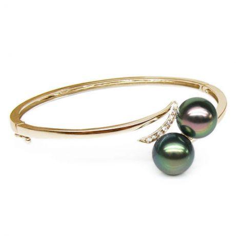 Bracciale rigido oro giallo - Perle di Tahiti nere, pavone, verde - 9/9.8mm