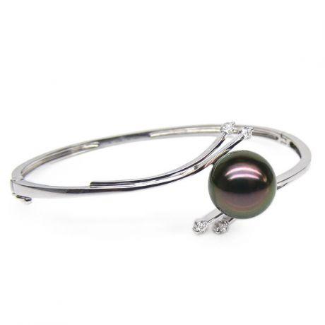 Bracciale rigido oro bianco - Perla di Tahiti nera, pavone, melanzana - 11/11.5mm
