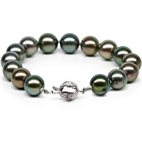 Braccialetto - Perle di Tahiti nere, blu, verde, pavone - 9/10mm