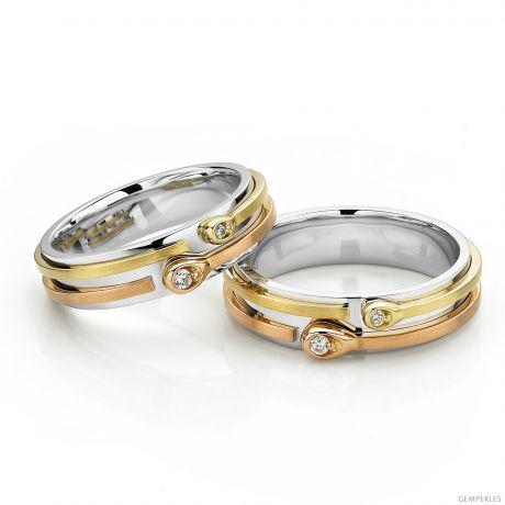 Fedi matrimonio, Fedine -  tre ori e diamanti
