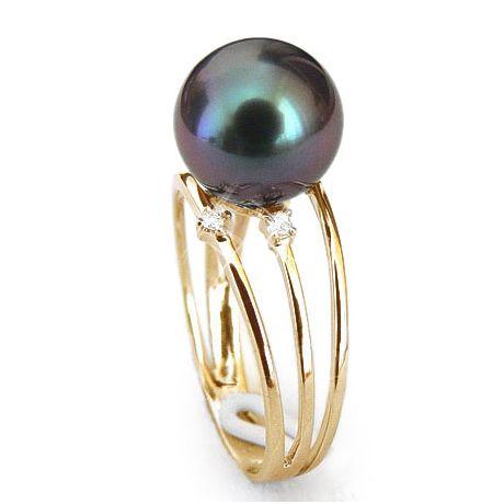 Anello oro giallo - Perla di Tahiti nera, blu, melanzana - 9/10mm