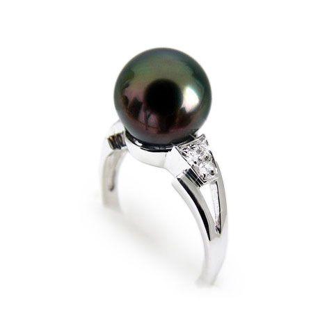 Anello oro bianco - Perla di Tahiti nera, verde, melanzana - 9/9.5mm