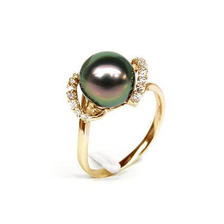 Anello oro giallo - Perla di Tahiti nera, pavone, melanzana - 9/10mm
