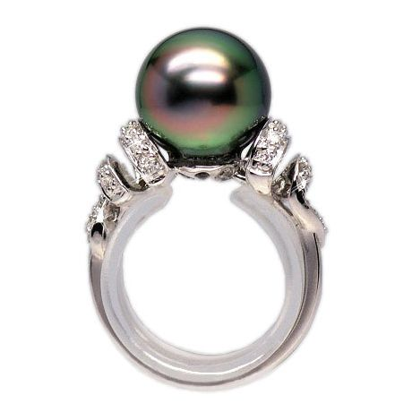 Anello oro bianco - Perla di Tahiti nera, verde, melanzana - 10/11mm