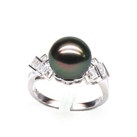 Anello oro bianco - Perla di Tahiti nera, pavone, melanzana - 10/11mm