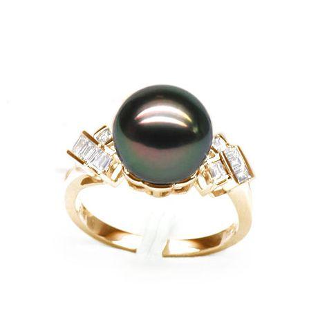 Anello oro giallo - Perla di Tahiti nera, pavone, melanzana - 10/11mm