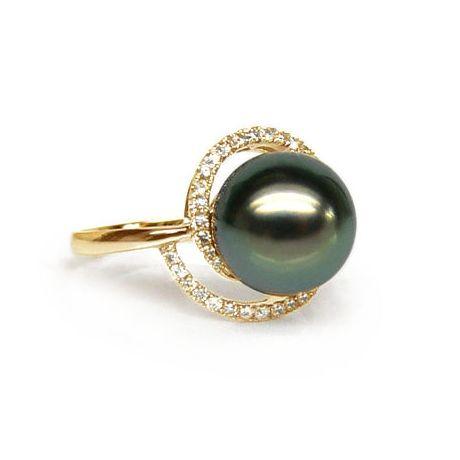 Anello oro giallo - Perla di Tahiti nera, verde - 9/10mm