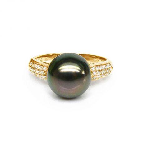 Anello oro giallo - Perla di Tahiti nera, bronzo - 9/10mm