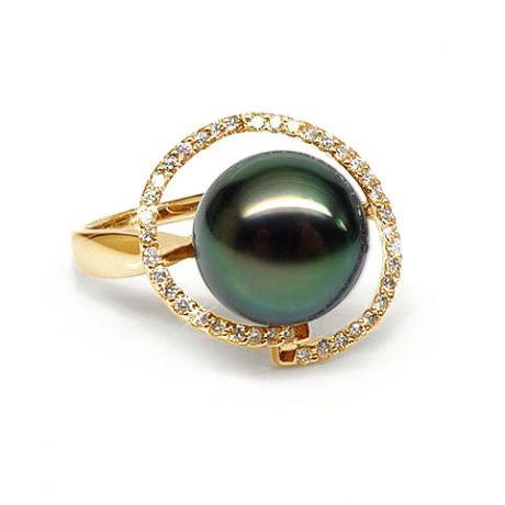 Anello oro giallo - Perla di Tahiti nera, verde - 10/11mm