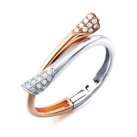 Anello ciondolo cuore - Oro bianco, rosa e diamanti 0160ct