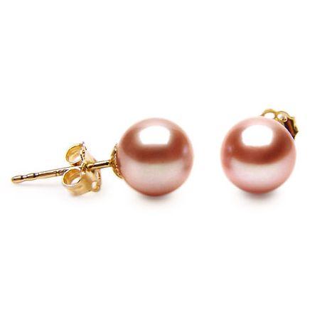 Orecchini perle acqua dolce rosa. Farfallina oro giallo - 8/9mm. AAA