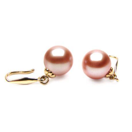 Orecchini perle acqua dolce rosa. Gancio oro giallo - 8/9mm. GEMMA