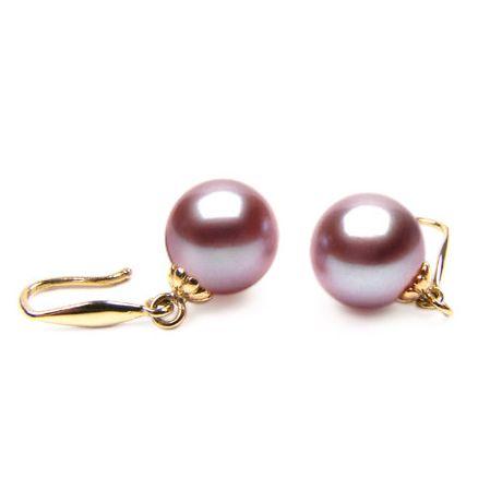 Orecchini perle acqua dolce lavanda. Gancio oro giallo - 8/9mm. AAA