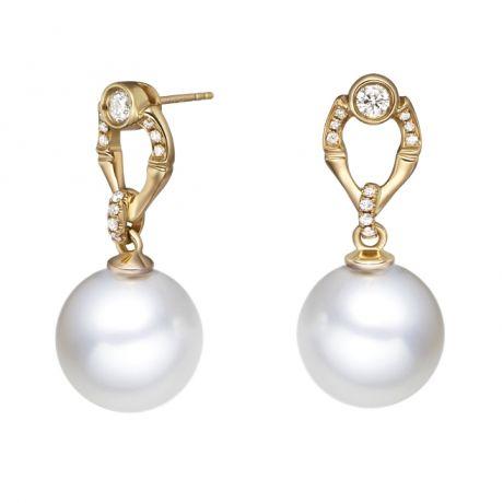 Orecchini bambù in oro giallo, perle e diamanti